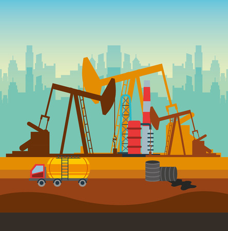 oil industry rig factory and tanker truck and barrels icon. colorful design. vector illustration