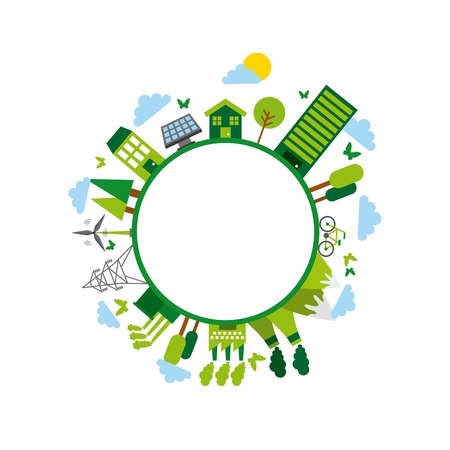 green idea and ecology icons around circle shape. colorful design. vector illustration Illustration