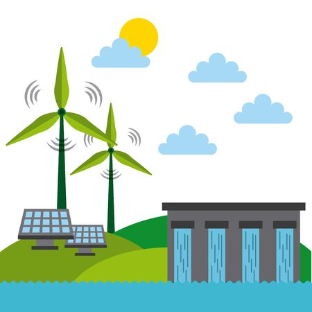 water dam, solar panel and wind turbines  over green landscape. colorful design. vector illustration