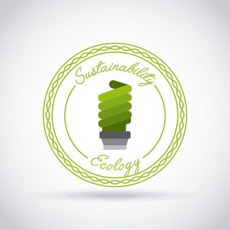 green bulb: seal stamp with green bulb icon over white background. sustainability and ecology design. vector illustraiton