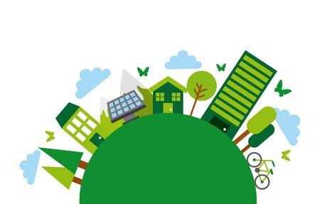 green city icons around circle shape. colorful design. vector illustration Illustration