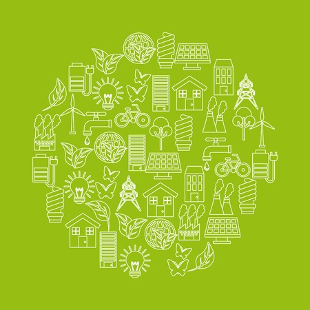 green idea and ecology icons on circle shape over green background. colorful design. vector illustration Çizim