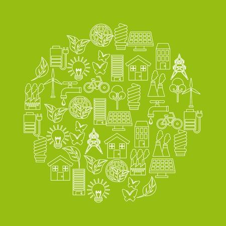 groen idee en ecologie pictogrammen op cirkelvorm over groene achtergrond. kleurrijk ontwerp. vector illustratie Stock Illustratie