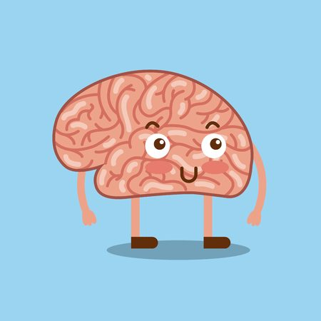 cartoon human brain  icon over blue background. colorful design. vector illustration Illustration