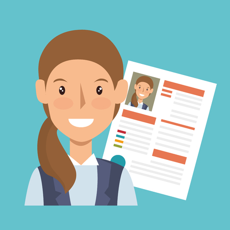 employe: businesswoman character avatar with cv icon vector illustration design