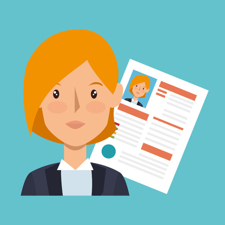 employe: businesswoman character avatar with cv icon vector illustration design