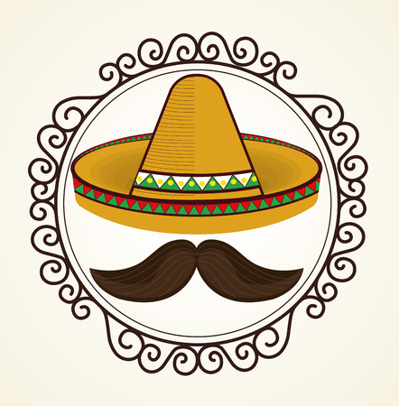 mexican culture traditional poster vector illustration design Illustration