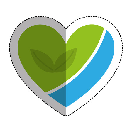 heart with leafs plant icon vector illustration design