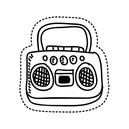 radio retro style drawing vector illustration design