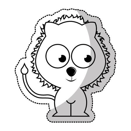 tierna linda del león de la ilustración del vector del carácter de diseño Ilustración de vector