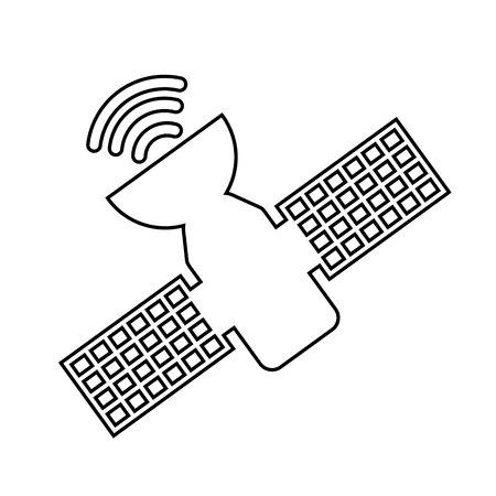satellite in space: satellite space isolated icon vector illustration design