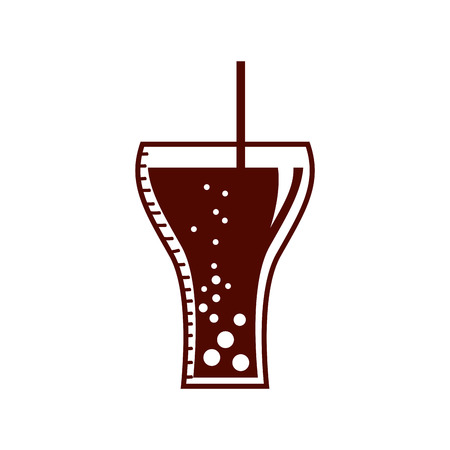 junkfood: soda glass with straw icon vector illustration design