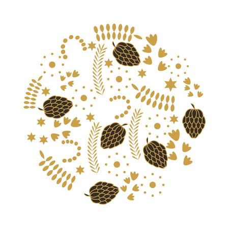 leafs gold decorative icon vector illustration design Illustration