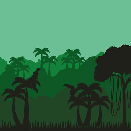 subtropical: jungle tropical landscape icon vector illustration design