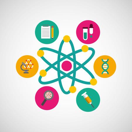 scientific laboratory flat line icons vector illustration design