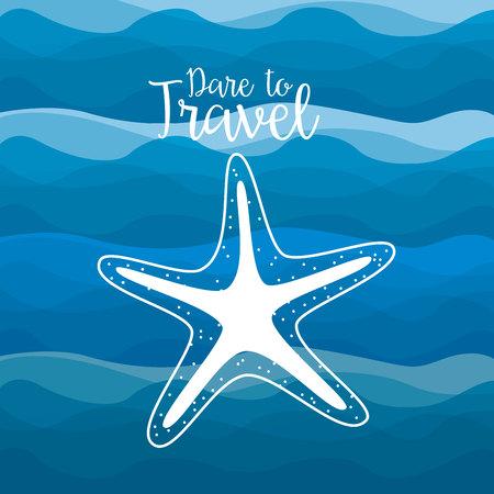 travel star: star fish travel poster vector illustration design