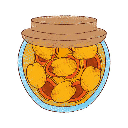 canned fruit: Canned fruit preserves product vector illustration design Illustration
