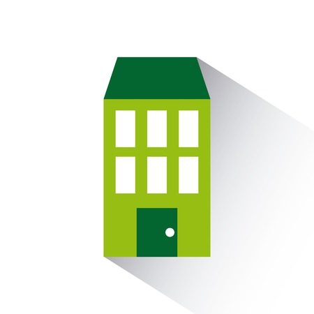 residential neighborhood: green house icon over white background. colorful design. vector illustration Illustration