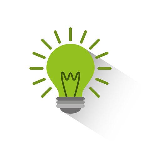 green bulb: green bulb light icon over white background. colorful design. vector illustration