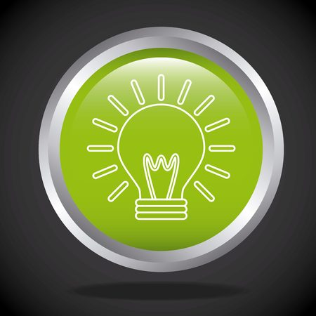 green bulb: button with green bulb light icon over black background. colorful design. vector illustration Illustration