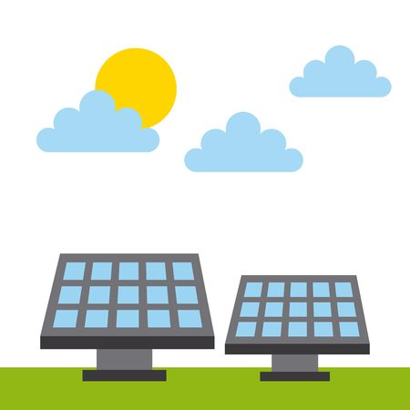 solar panel icon over white background. colorful design. vector illustration