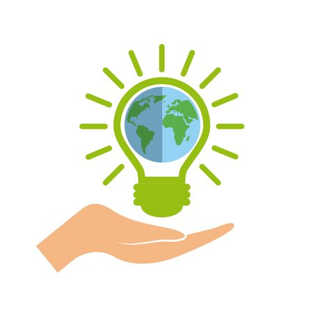 green bulb: hand with green bulb light  with earth planet icon over white background. colorful design. vector illustration Illustration
