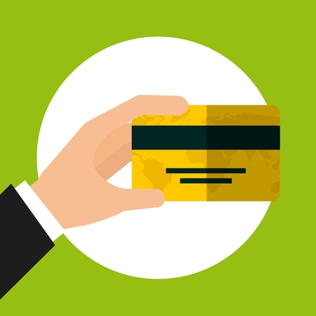 hand holding a credit card icon over white circle and green background. colorful design. vector illustration