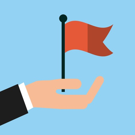 deisgn: hand with red flag icon over  blue background. colorful deisgn. vector illustration Illustration