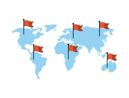 world flags: world map with red flags over white background. colorful design. vector illustration
