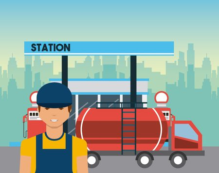 refueling: gas station, tanker truck and worker man icon. colorful design. vector illustration