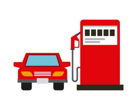 gas station pump and car vehicle icon over white background. colorful design. vector illustration
