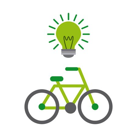 green bulb: green bulb and bicycle vehicle icon over white background. colorful design. vector illustration