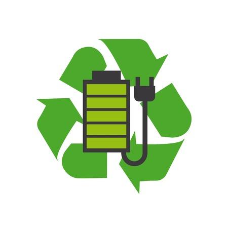 la batería y el enchufe sobre reciclaje firman sobre el fondo blanco. diseño colorido. ilustracion vectorial