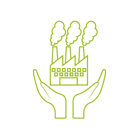 hands with factory building icon over white background. vector illustration
