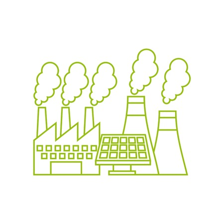 simplus: factory building and solar panel icon over white background. vector illustration