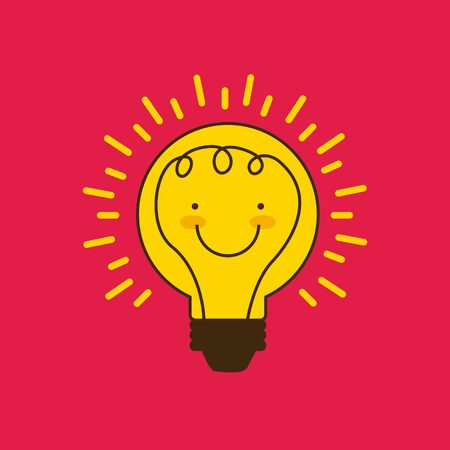 bombillo ahorrador: cartoon bulb light with happy face icon over red background. colorful design. vector illustration Vectores