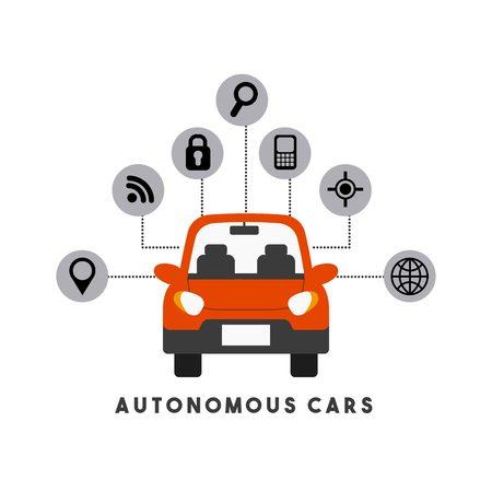 coche autónomo con iconos inteligentes alrededor sobre fondo blanco. diseño colorido. ilustración vectorial