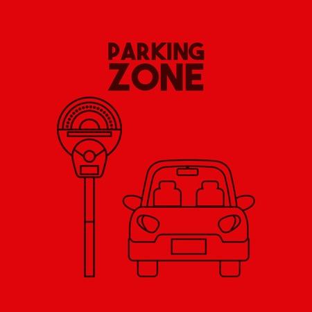 Auto pictogram op parkeerplaats. Kleurrijk ontwerp. Vector illustratie