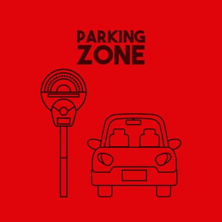 Icona dell'automobile sulla zona di parcheggio. design colorato. illustrazione vettoriale Archivio Fotografico - 68646359