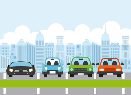 parked cars iin parking zone. colorful design. vector illustration