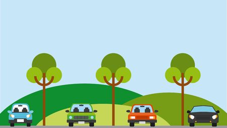 parked cars in parking zone. colorful design. vector illustration