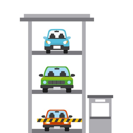 parked cars in a parking building. colorful design. vector illustration