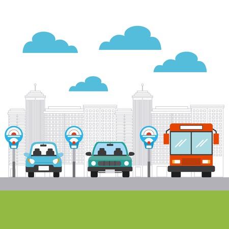 automóviles estacionados y vehículos de autobuses en la zona de estacionamiento de la ciudad. diseño colorido. ilustración vectorial