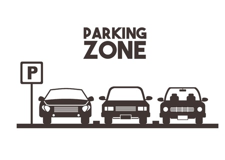 parked cars in a parking zone over white background. vector illustration Illustration