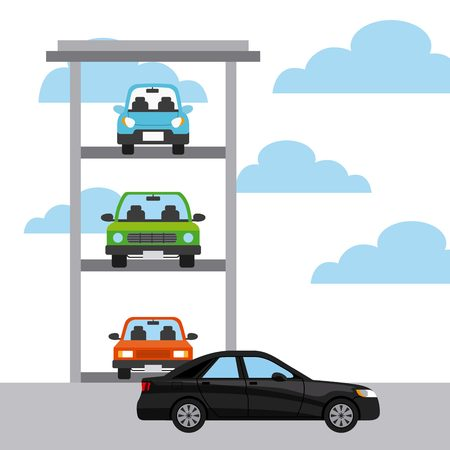 parked: parked cars and black car icon. colorful design. vector illustration