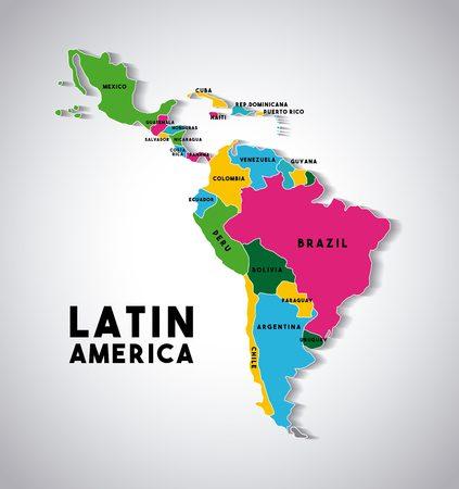 Mapa da América Latina com os países demarcados em cores diferentes. design colorido. ilustração vetorial Ilustración de vector