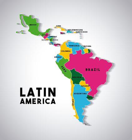 Mapa de América Latina con los países demarcadas en diferentes colores. diseño colorido. ilustración vectorial Foto de archivo - 67878330