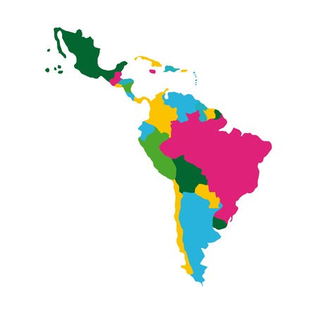 latin america map icon over white background. colorful design. vector illustration Imagens