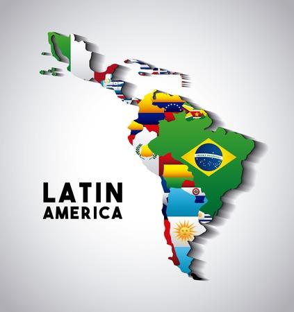 Mapa Ameryki Łacińskiej z flagami krajów. Kolorowy design. Ilustracji wektorowych