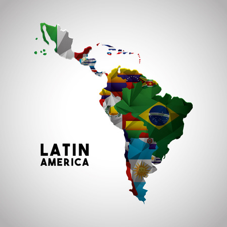 Mapa de América Latina con las banderas de los países. diseño colorido. ilustración vectorial